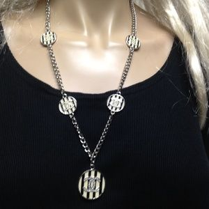 Chanel Black and White Stripe CC Charm Necklace